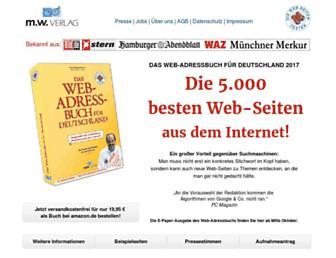 Main page screenshot of web-adressbuch.de