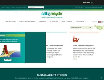 Main page screenshot of call2recycle.org