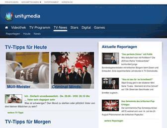 Main page screenshot of tvnews.unitymedia.de