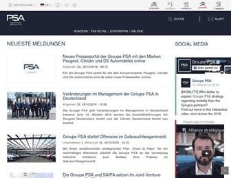 Main page screenshot of peugeot-presse.de