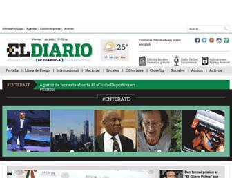Main page screenshot of eldiariodecoahuila.com.mx