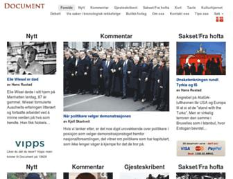 Main page screenshot of document.no