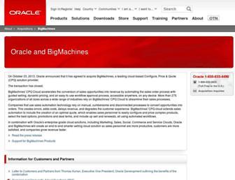 Main page screenshot of bigmachines.co.uk