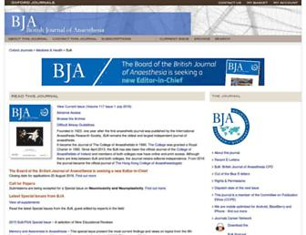 Main page screenshot of bja.oxfordjournals.org