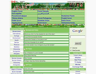 Main page screenshot of newcanada.org