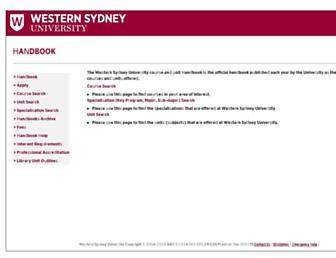 handbook.westernsydney.edu.au screenshot
