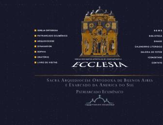 Main page screenshot of ecclesia.com.br