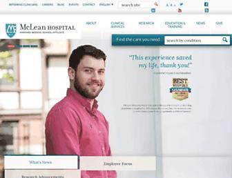 Main page screenshot of mclean.harvard.edu