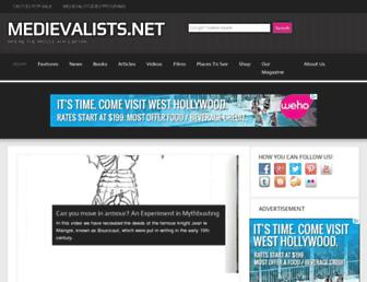 Main page screenshot of medievalists.net