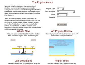 thephysicsaviary.com screenshot