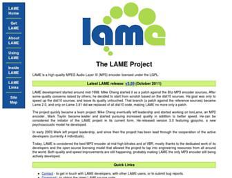 lame.sourceforge.net screenshot
