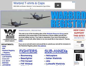 warbirdregistry.org screenshot
