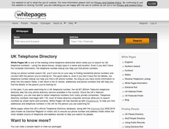 Main page screenshot of whitepages.co.uk
