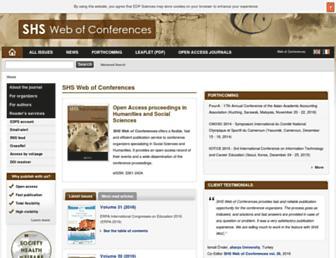 shs-conferences.org screenshot