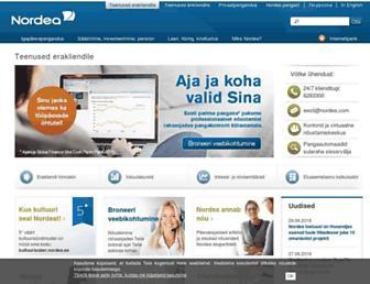 Main page screenshot of nordea.ee