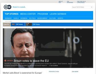 Main page screenshot of dw-world.de