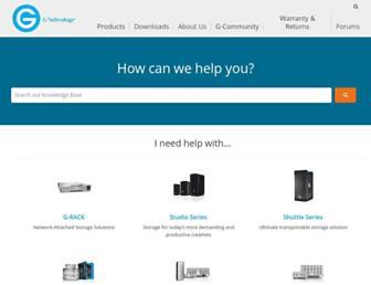 support.g-technology.com screenshot