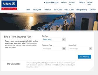 allianztravelinsurance.com screenshot