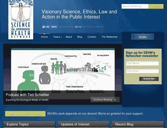 Main page screenshot of sehn.org