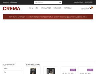 Main page screenshot of crema.fi