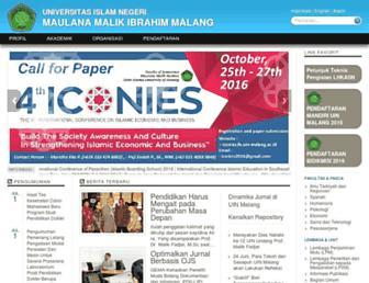 Main page screenshot of uin-malang.ac.id