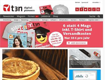 Main page screenshot of t3n.de