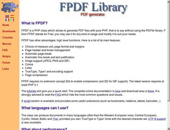 fpdf.org screenshot