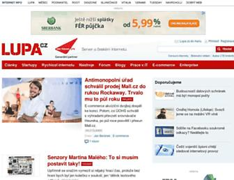 Main page screenshot of lupa.cz