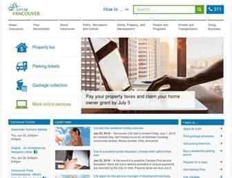 Main page screenshot of vancouver.ca