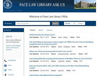 libraryanswers.law.pace.edu screenshot