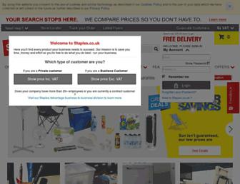 Main page screenshot of staples.co.uk