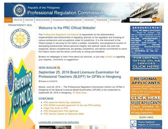 Main page screenshot of prc.gov.ph