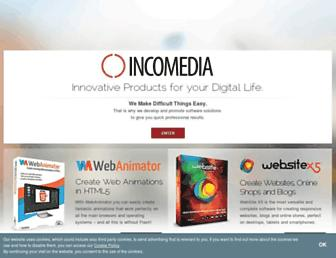 Main page screenshot of incomedia.eu