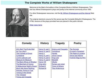 shakespeare.mit.edu screenshot