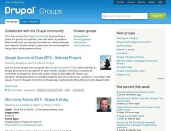Main page screenshot of groups.drupal.org