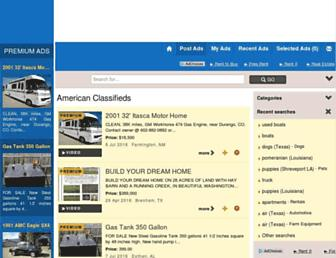 Main page screenshot of american-classifieds.net