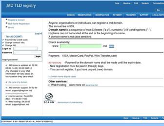 Main page screenshot of nic.md