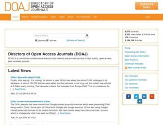 Main page screenshot of doaj.org