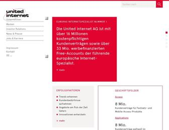 Main page screenshot of unitedinternet.de
