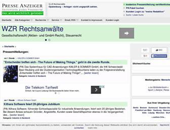 Main page screenshot of presseanzeiger.de