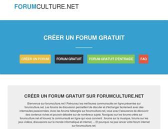 Main page screenshot of forumculture.net