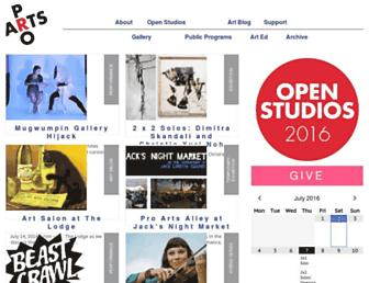 Main page screenshot of proartsgallery.org