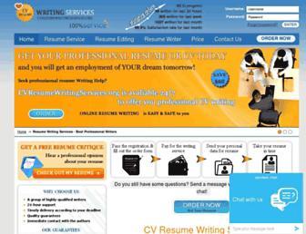 Main page screenshot of cvresumewritingservices.org