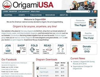 Main page screenshot of origami-usa.org
