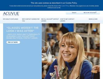 Main page screenshot of acuvue.co.uk