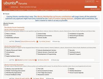 Main page screenshot of ubuntuforums.org