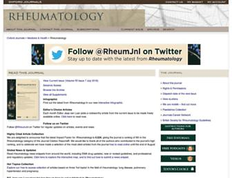 Main page screenshot of rheumatology.oxfordjournals.org