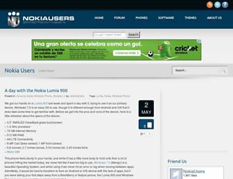Main page screenshot of nokiausers.net