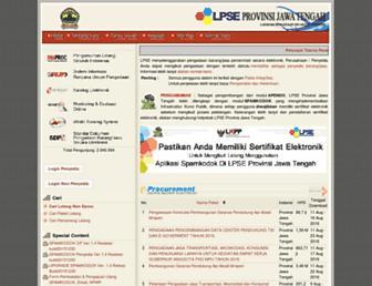 lpse.jatengprov.go.id screenshot