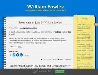 Main page screenshot of williambowles.info